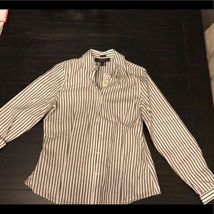 Womens gray & white striped button up shirt size 6